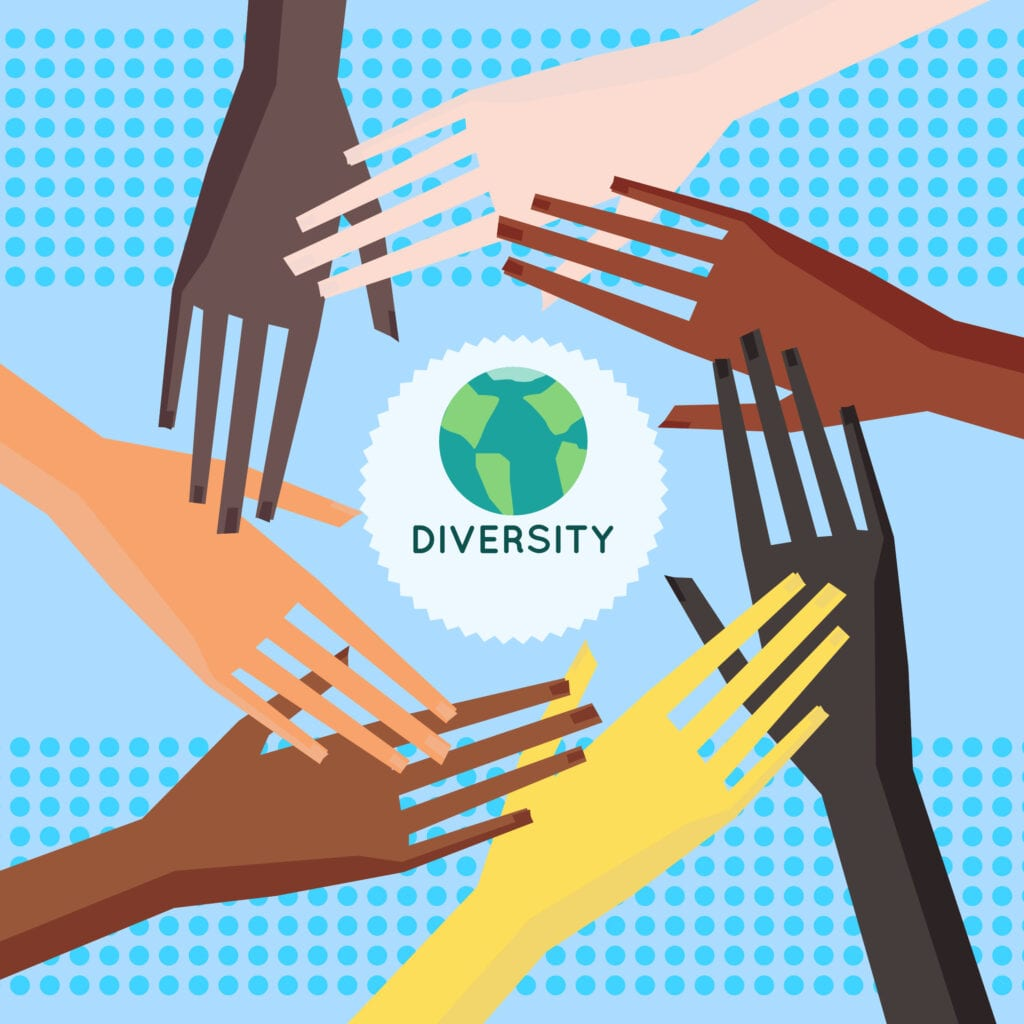 The Problem with Privilege - Illustration of a people's hands with different skin color together. Race equality, divesity, tolerance illustration. Flat design style.