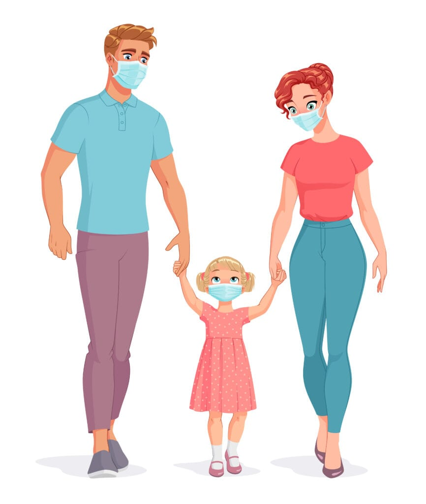 The Coronavirus Diaries - 28th July 2020. Family wearing masks to protect from Covid-19. Vector illustration.