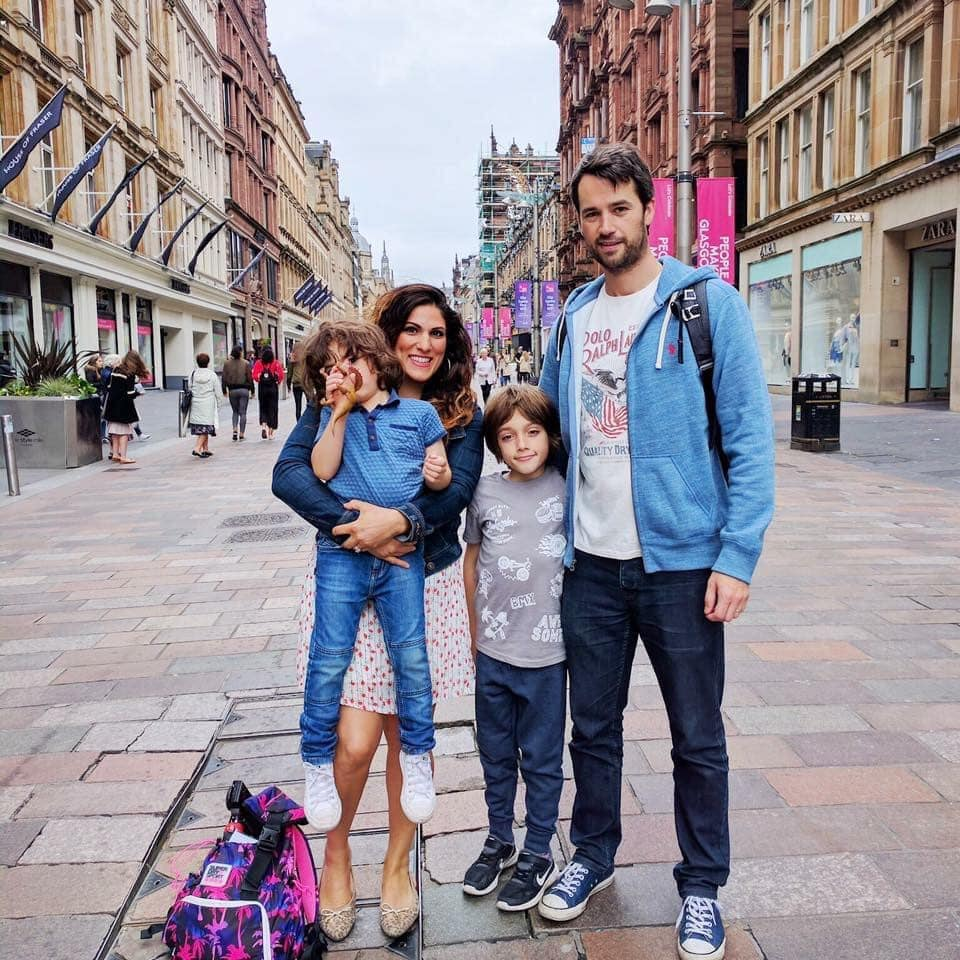 Picture of Vicki and her family standing in Windsor high street