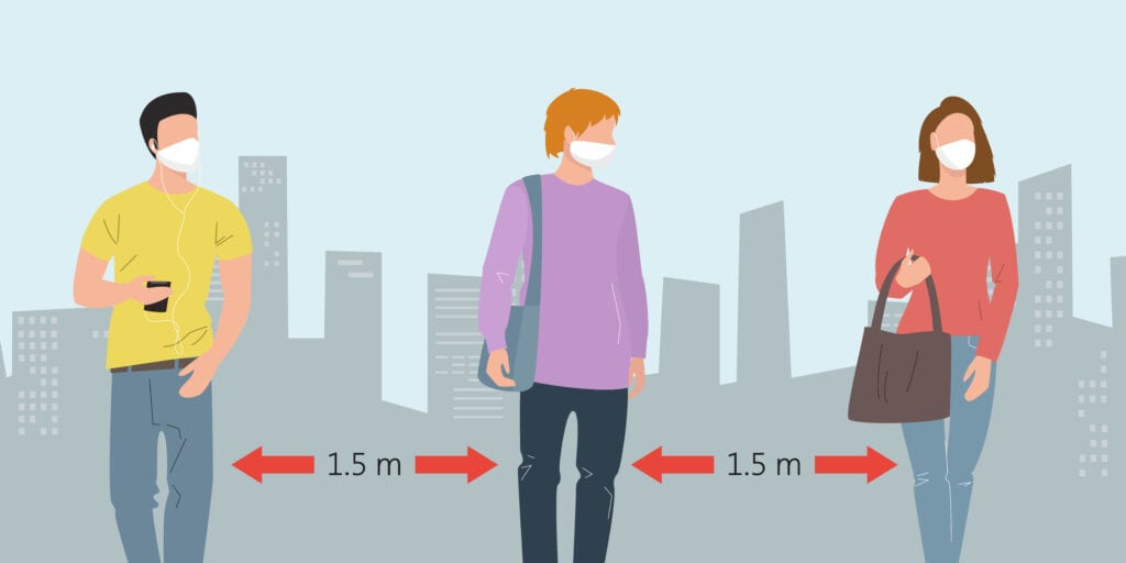 The Coronavirus Diaries - 29th September 2020. People keeping distance and wearing protective medical mask for prevent virus in the city. Vector Illustration.