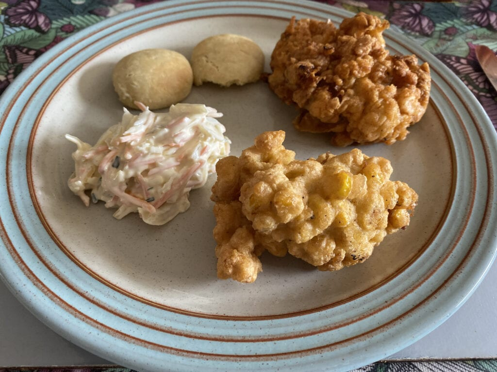 Fried chicken, sweetcorn fritters and American biscuits
