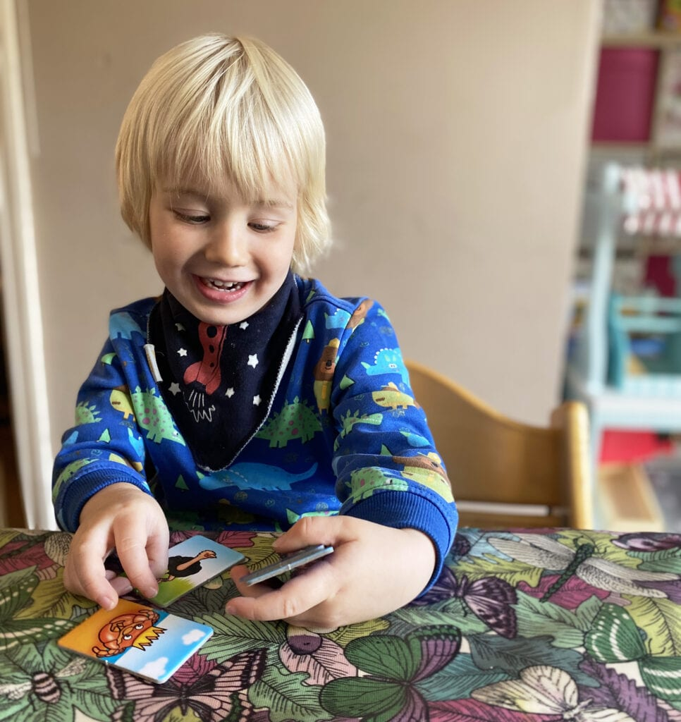 Bo smiling with the Animal Families cards in his hands