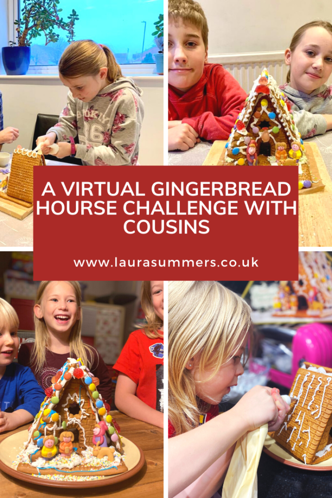 Staying in Touch During a Pandemic Christmas. A virtual gingerbread house challenge with cousins. How you can stay in touch and stay connected with family members when you can't see them during a pandemic