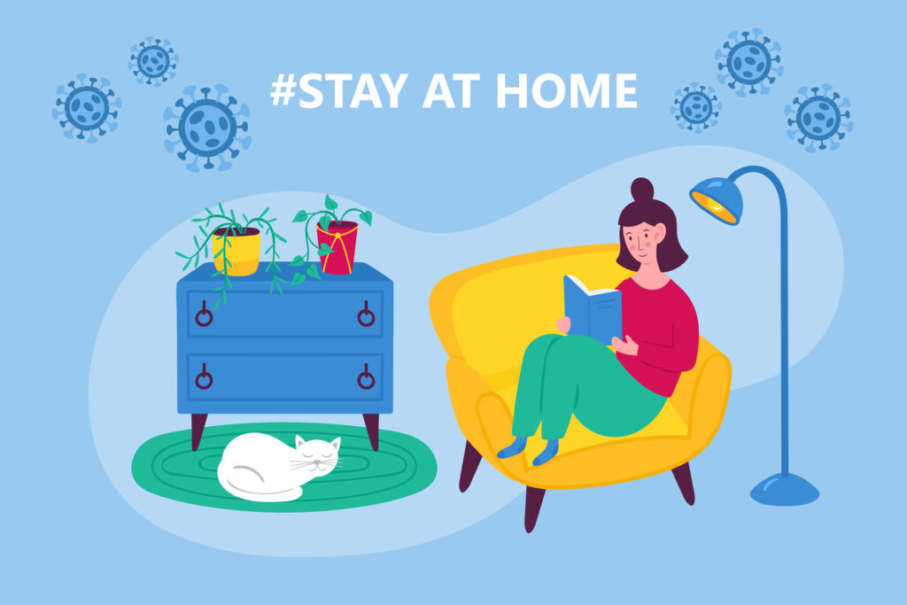 The Coronavirus Diaries - 23rd February 2020 - Coronavirus COVID-19 outbreak concept. Stay at home concept with woman sitting in armchair and reading book. Flat cartoon vector illustration