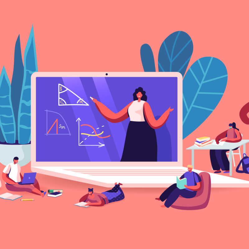 Online School Education Concept. Kids Characters Quarantine Distant Studying . Children Sitting around of Huge Laptop with Teacher Explain Geometry Lesson on Screen. Cartoon People Vector Illustration