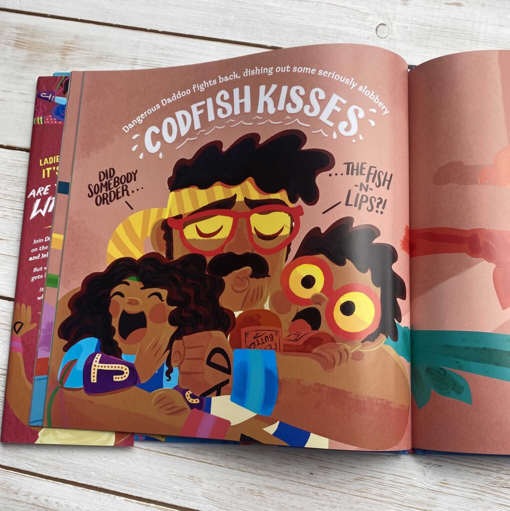 CHILDREN'S BOOK REVIEW: Friday Night Wrestlefest by J.F. Fox - illustrations of Dad giving the children a squish and kiss