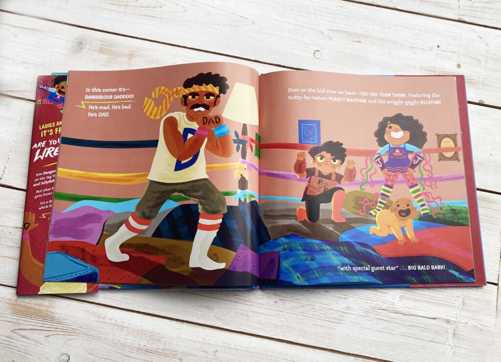 CHILDREN'S BOOK REVIEW: Friday Night Wrestlefest by J.F. Fox - illustrations of Dad and children play wrestling