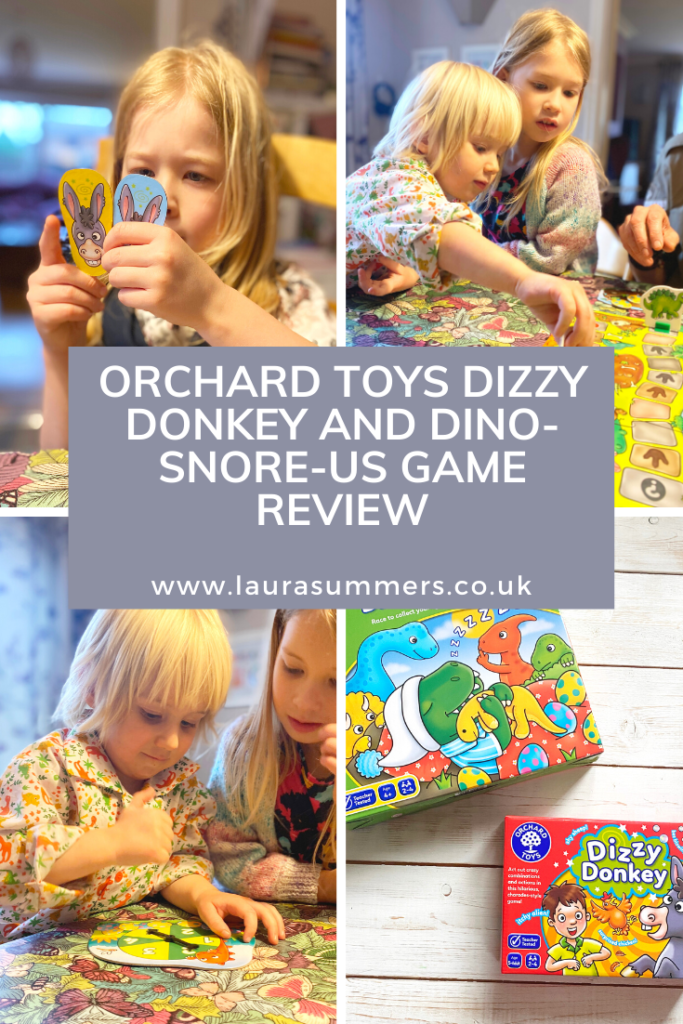 Orchard Toys Dizzy Donkey and Dino-Snore-Us Game Review. A review of educational games Dizzy Donkey and Dino-Snore-Us from Orchard Toys. Great for imagination, maths and counting skills and also lots of family fun
