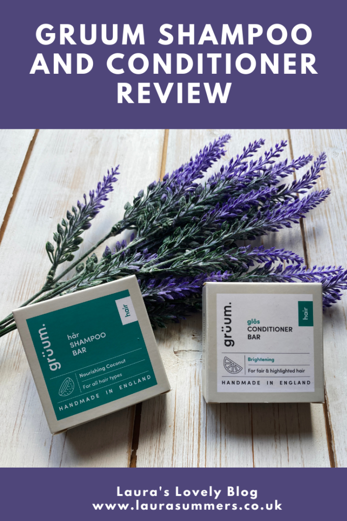 Gruum Shampoo and Conditioner Review. I wanted to try a shampoo and conditioner that created less waste. Gruum are shampoo and conditioner bars that come in cardboard packaging. Better for the environment and worked really well with my hair.