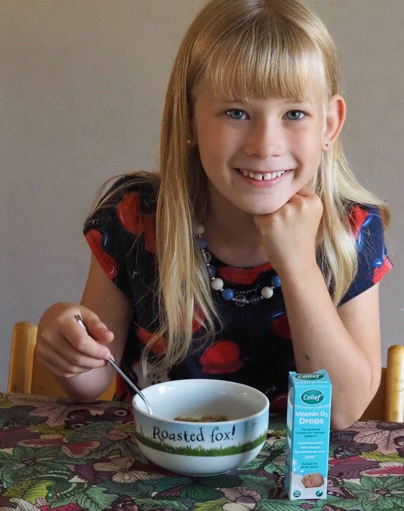 Aria having Colief in her breakfast